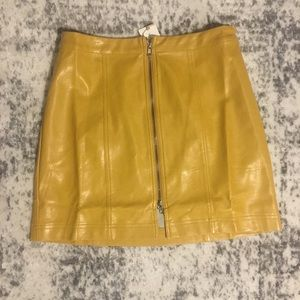 Brand new Faux Leather Mustard Skirt from LULUS